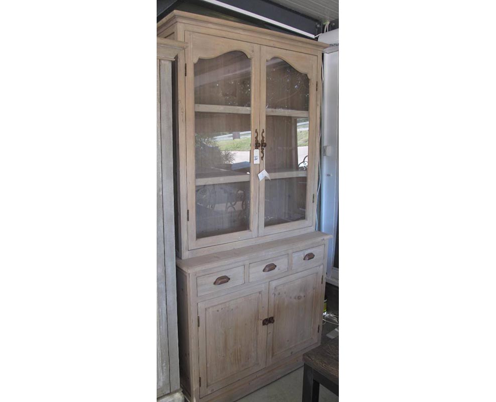 Cabinet From Fir Wood With Glass Wood Stone