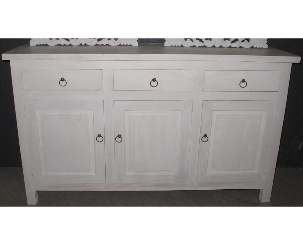 Cabinet sanur white wood stone for Bathroom cabinets 40cm wide