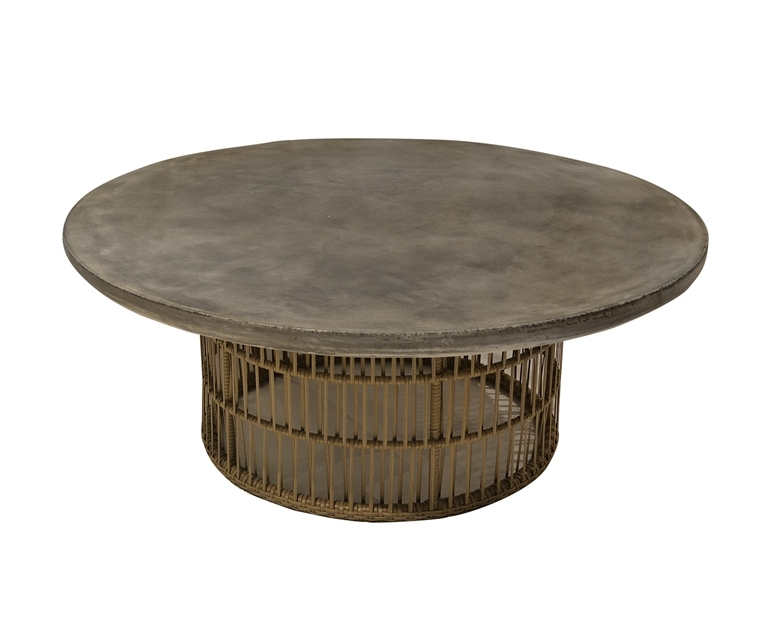 Coffee table round concrete amp bamboo base wood amp stone