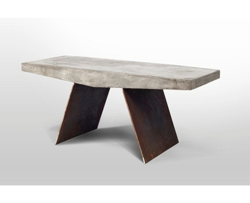 Coffee table concrete iron wood stone for Stone and wood coffee table