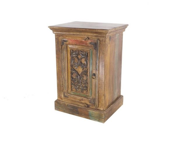 T1411 - I17 BEDSIDE TABLE CARVED FLOWER ACACIA 51x40x71