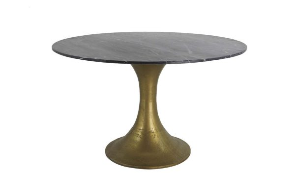 T2079 - I17 DINING TABLE IRON MARBLE TOP F120 H73